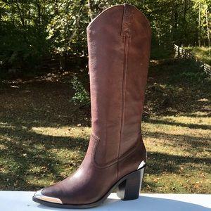 Frye Faye metallic pull on western boots $545